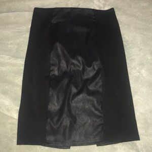Black pencil skirt with pleather insert
